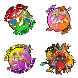 Masked Sorio Button Pin-Ups (FAN-ART) by SuperSonicGX