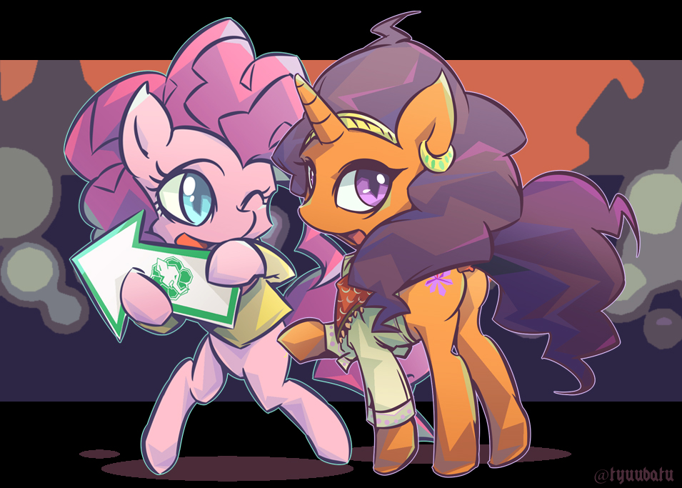 Pinkie and Saffron by tyuubatu