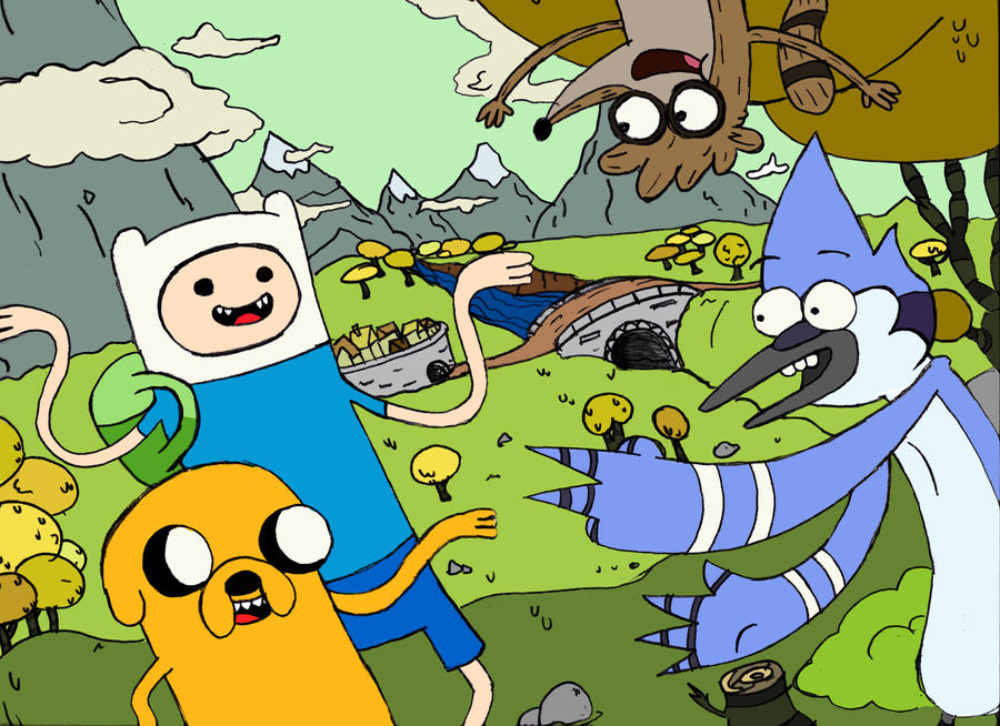 Adventure time X Regular Show by fenix91