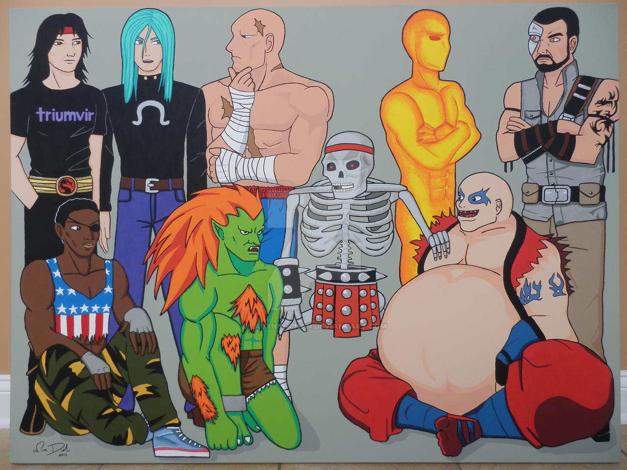 Video Game Fighters large painting by LadyNin-Chan