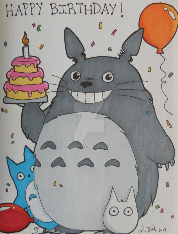 Comm Totoro Birthday card 1 by LadyNinChan on DeviantArt – Totoro Birthday Card