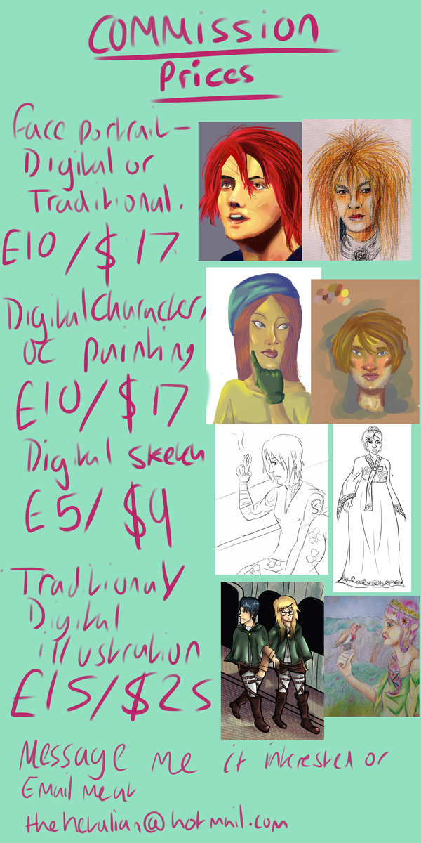 My Commission Price List by chester118