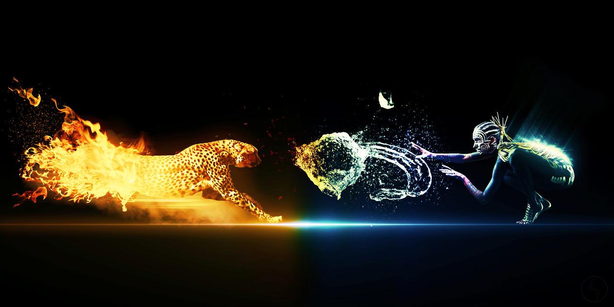 Fire Vs. Water by iiSkyzZ on DeviantArt