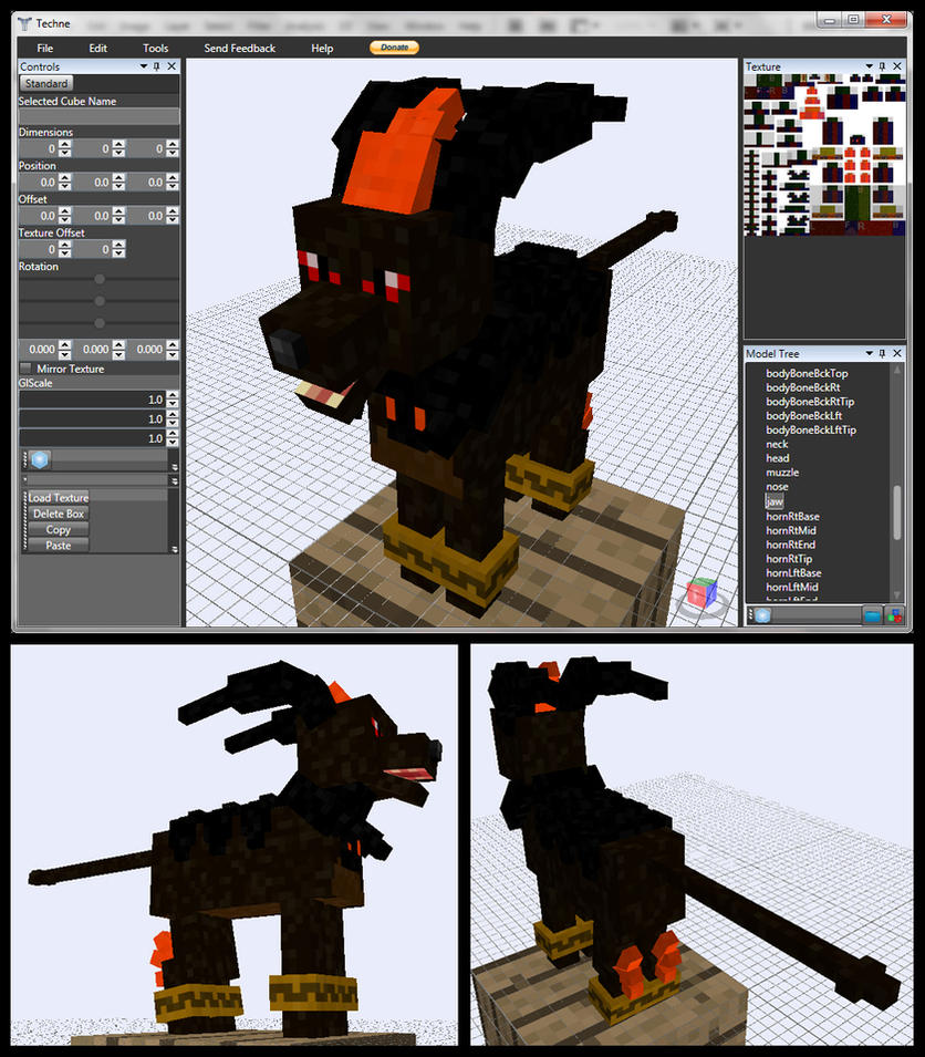 Minecraft ifrit houndoom mob model by fuzzyacornindustries Minecraft 3d model maker