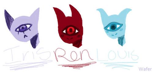 Iris,Ren, and Louis (Lui) by WaferDoesArt