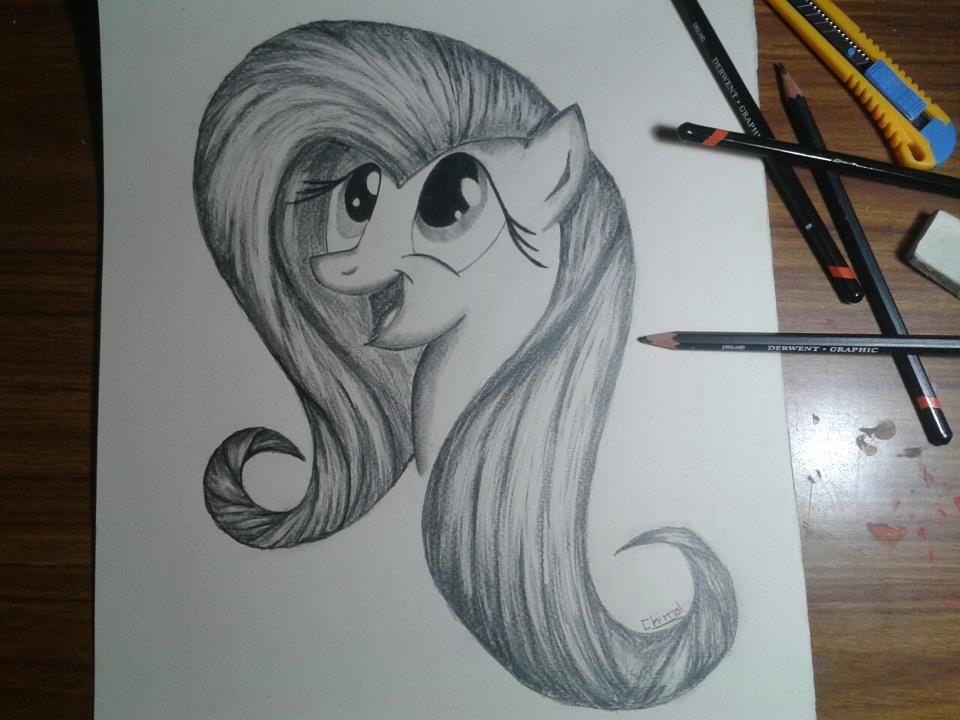 Fluttershy on pencils by Pietas