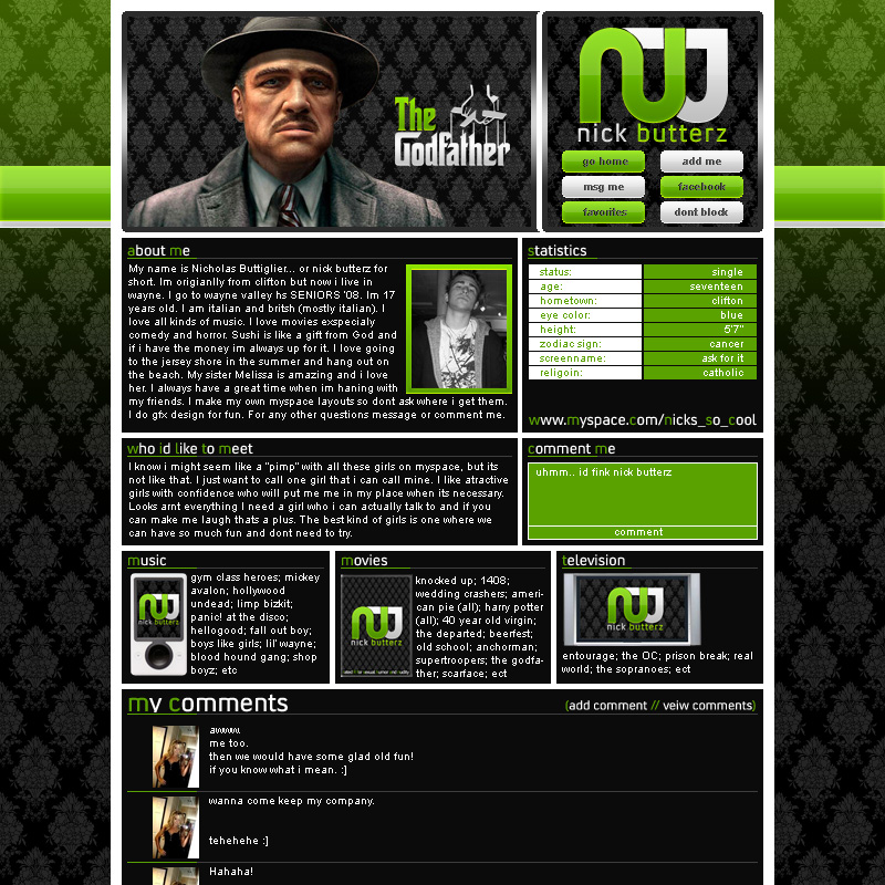 Godfather Myspace Layout by nickbutterz