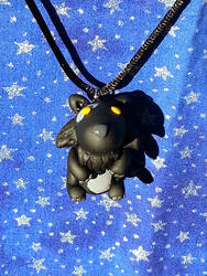 Black and Grey Wolf Necklace by AuroraStars