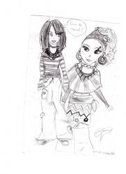 drawing of 2 girls