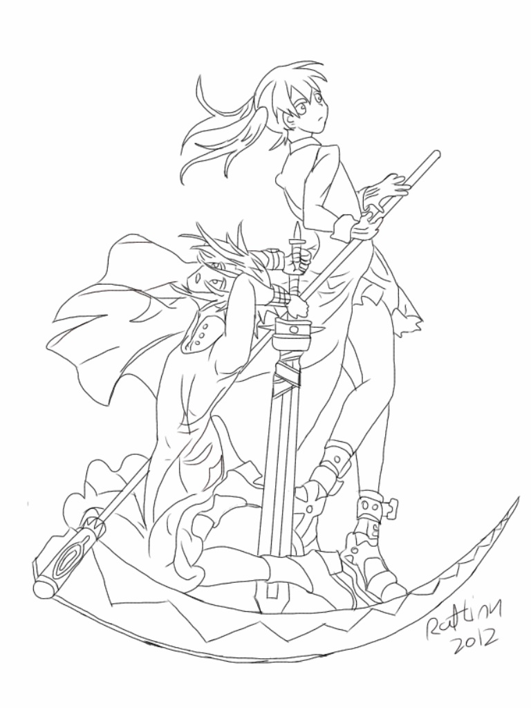 Anime character coloring pages soul eater ~ Soul Eater: Maka and Crona by Ratlink on DeviantArt