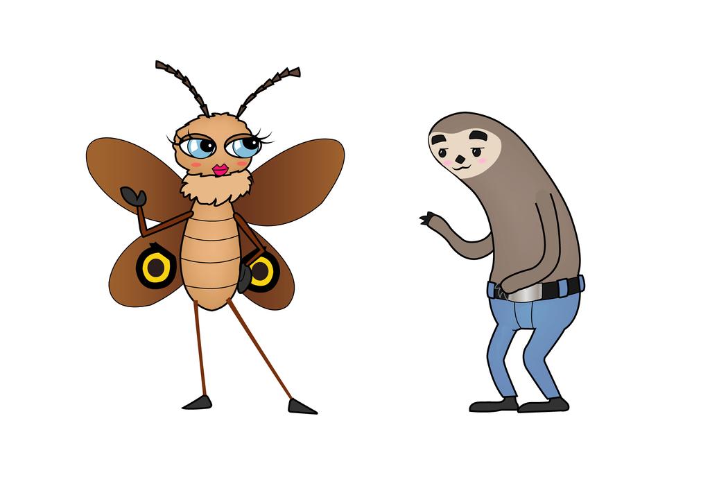 Moth and Sloth by Shipahn