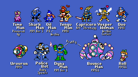 Assorted Mega Man Characters NES Styled