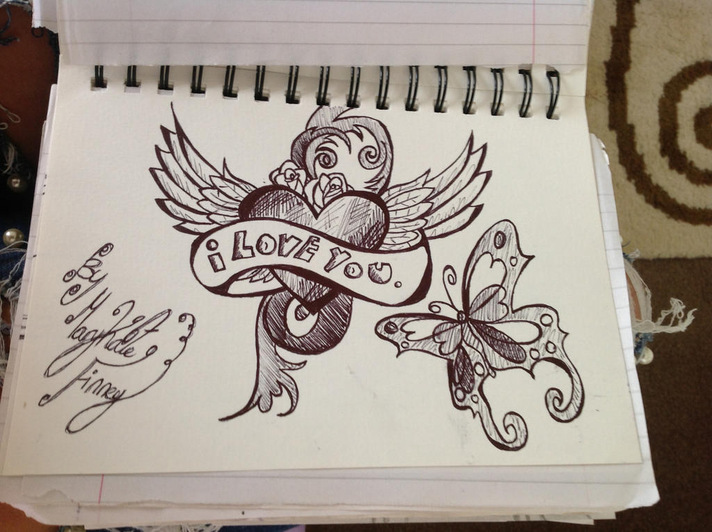 I love you, tattoo doodle design by Mkdoll on DeviantArt