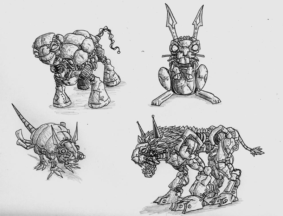 mechanical animal drawings pictures to pin on pinterest