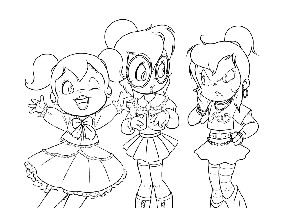 alvin and the chipmunks and the chipettes coloring pagesAlvin And The Chipmunks And The Chipettes Coloring Pages