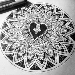 Heart mandala by Zwartmetaal