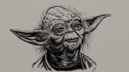 Yoda ink drawing by Maxiator
