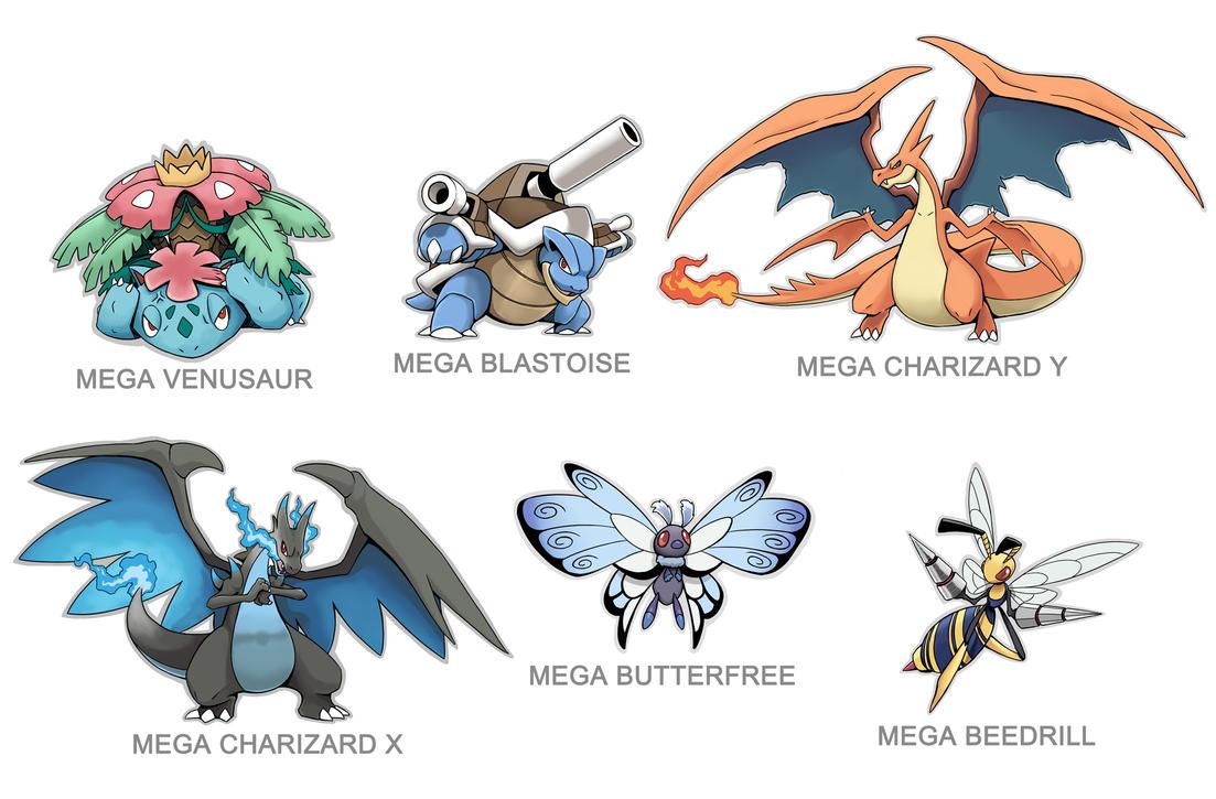 Kanto Mega Pokemon 003 006 009 012 015 By SilentGPanda On