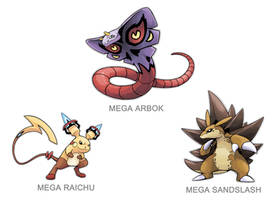 Kanto Mega Pokemon 024, 026, 028 by SilentGPanda