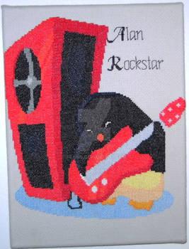 Rockstar Penguin -Cross Stitch