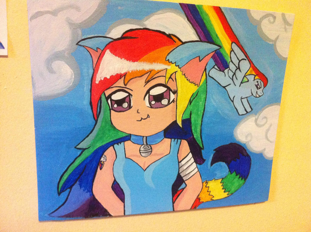 Rainbow Dash Neko Painting by LaLaLaNiceLady
