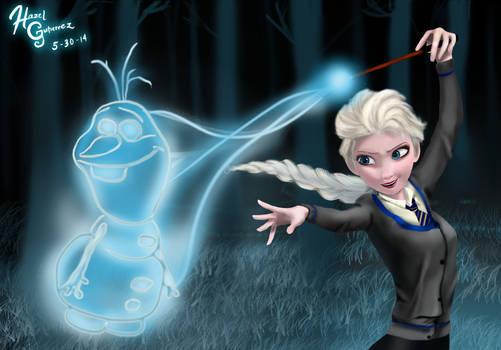 Elsa as a Ravenclaw girl and Olaf as her patronus