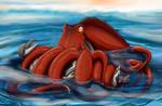 Octopus Tickles Anthro Dolphin by Kotya-ra