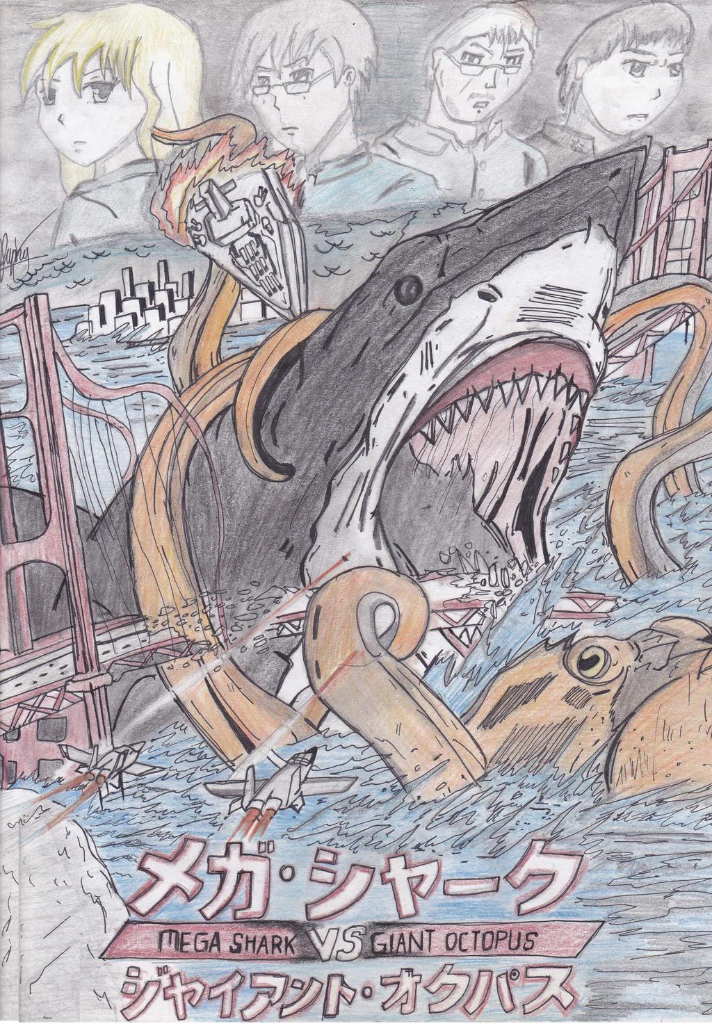 shark vs octopus drawing