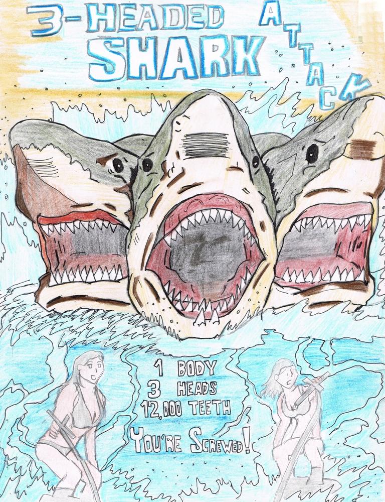 2 headed shark attack poster