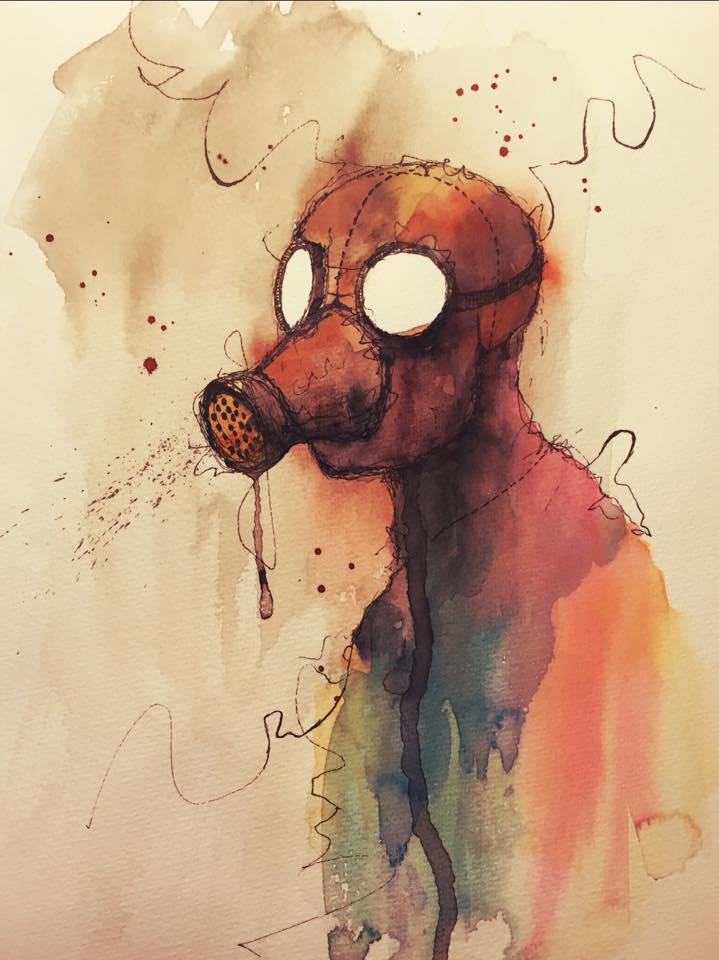 Gas mask man by Medhi