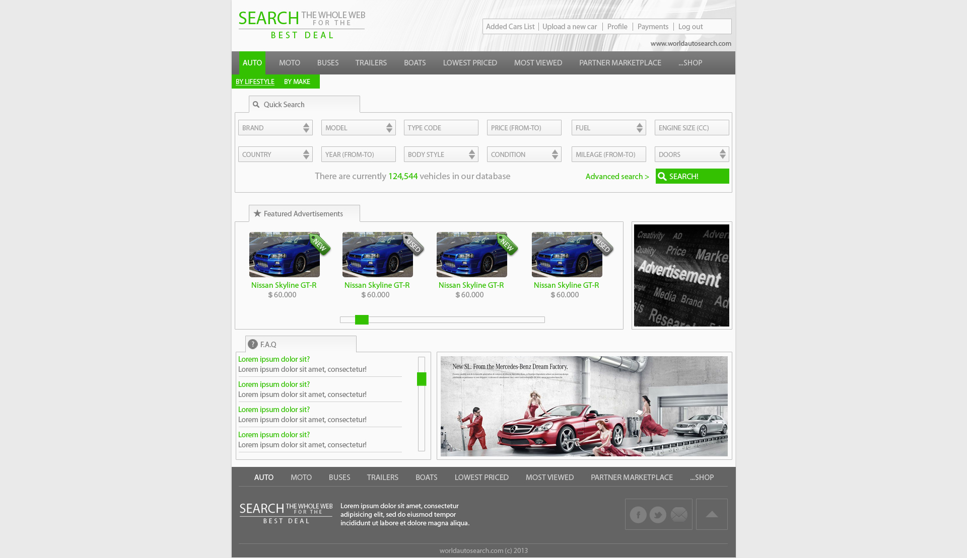 World Auto Search website design by SkinnyDesigns