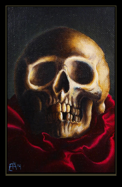 Skull on red silk by Alfvag