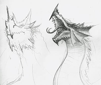 Dragon head sketches by Alfvag