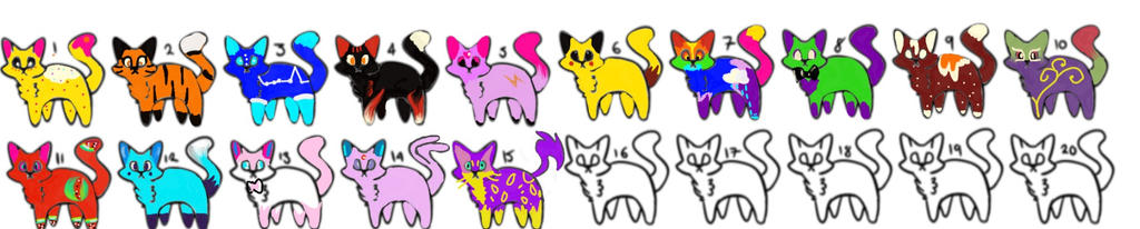 Adoptables Chibi cats by Nightcorepop