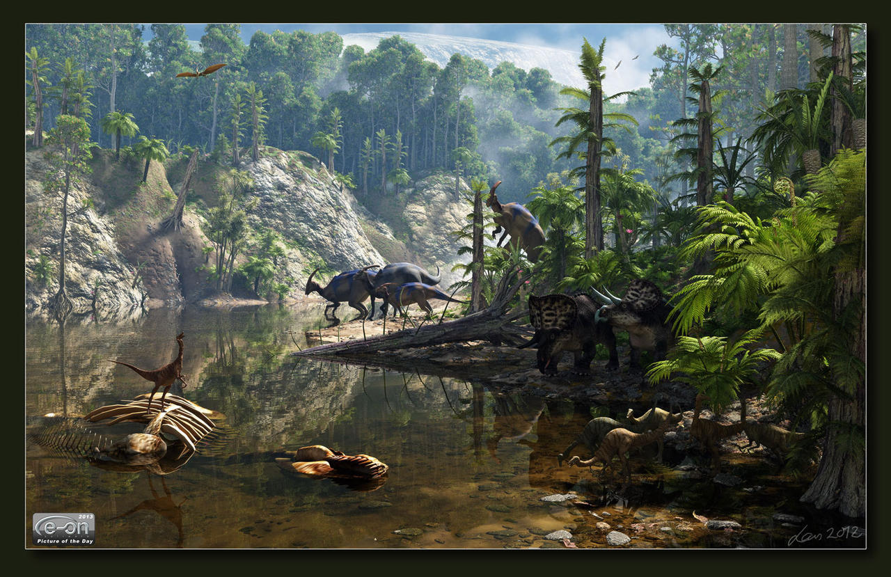 Jungle With Dinosaurs by neanderdigital