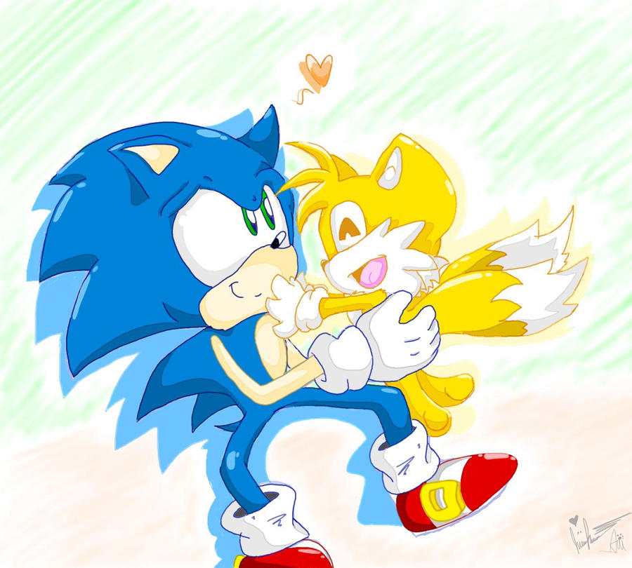 .::Collab::. Chibi Sonic And Tails Love By Wolfiisaur On