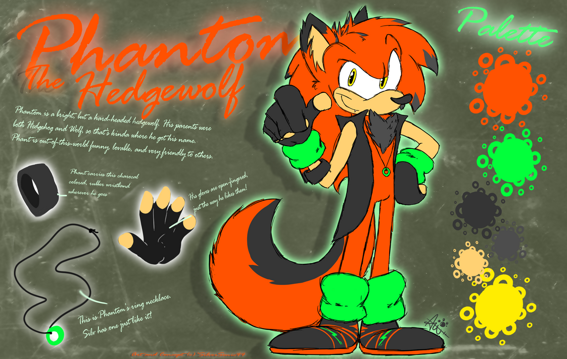 Phantom The Hedge-Wolf:. 2012 Ref Sheet:. by SilverSonic44