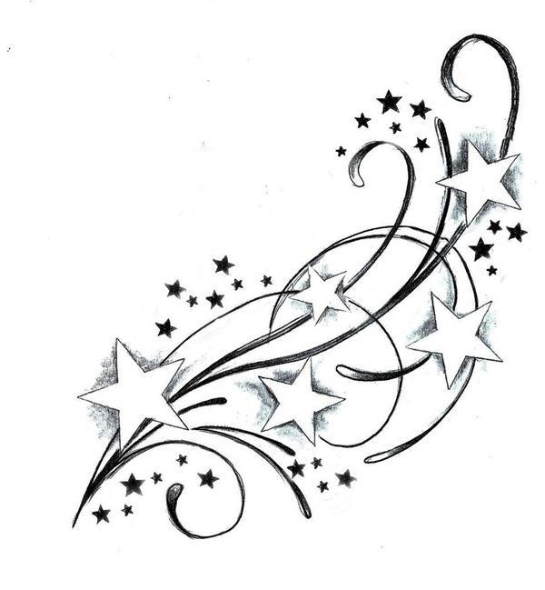 Swirls and Shooting Stars Tattoos