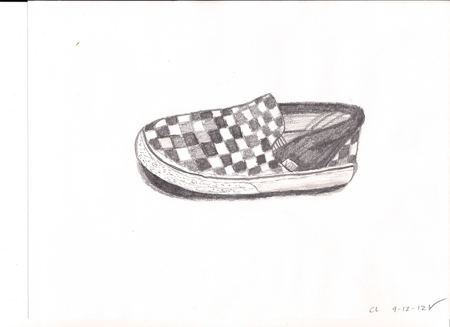vans shoes drawing. vans checkered shoe - pencil sketch by byupenguin26 shoes drawing