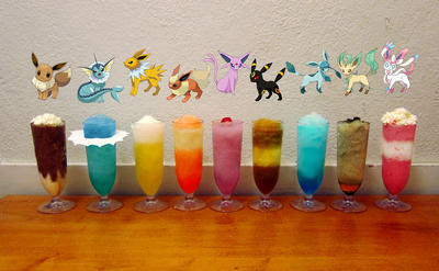 Frozen Eeveelution drinks (Pokemon cocktail set) by Subject-Delta12