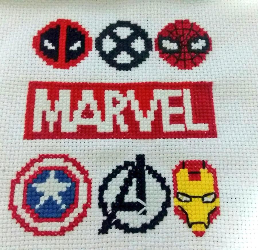 marvel logos in cross stitch by lisasinarae on deviantart