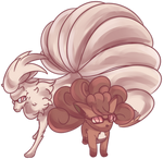 Nerdy Ninetales and Vulpix Commission