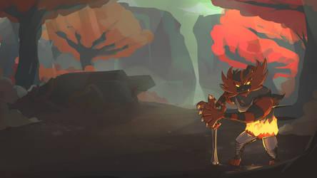 Gaogaen | Incineroar the Swordsman Commission by AutobotTesla