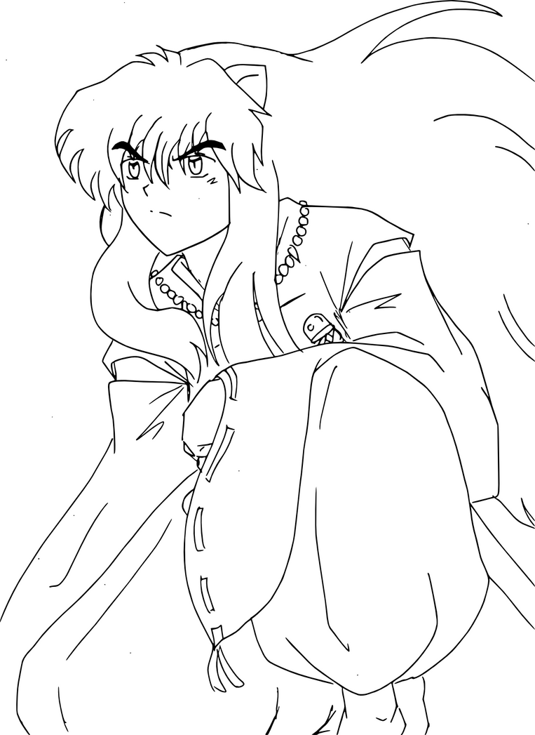 Inuyasha coloring book - Buried In Thought By Inuyasha Niichan