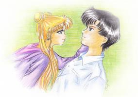 Usa-chan and Mamoru by SelenaSeleria
