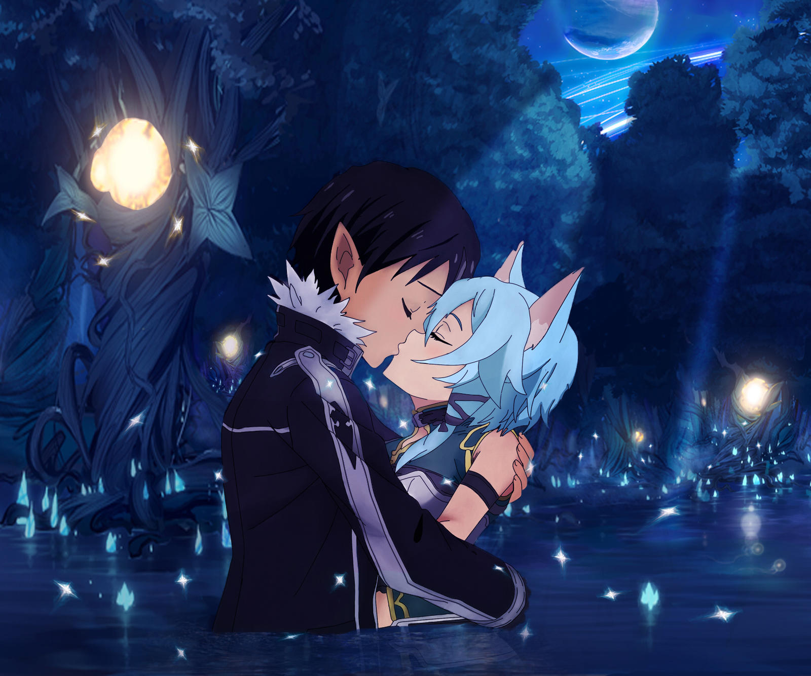Dress up games favourites by asuna and kirito on deviantart - Kurodoppelganger 83 7 Kirito And Sinon Kiss By Vergilian91