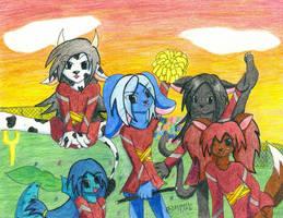 Cheerleading Anthros by fluffnight
