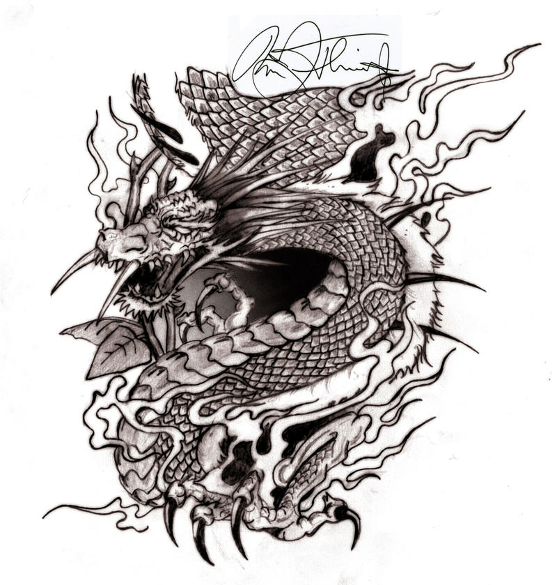 Fanged Dragon - sleeve tattoo