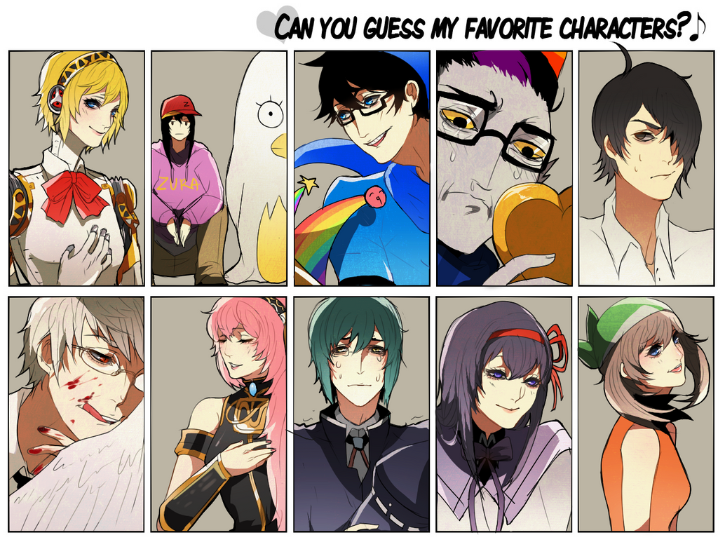 FAVORITE CHARACTERS MEME by chewypickles