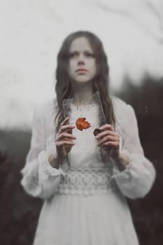 Gravestone of dismal autumn